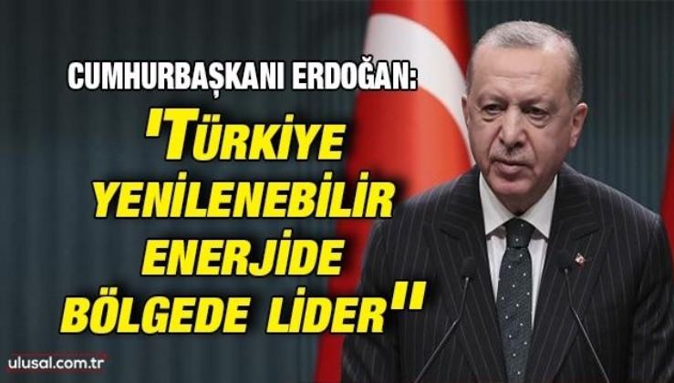 Cumhurbaşkanı Erdoğan: ''Türkiye yenilenebilir enerjide bölgede lider''