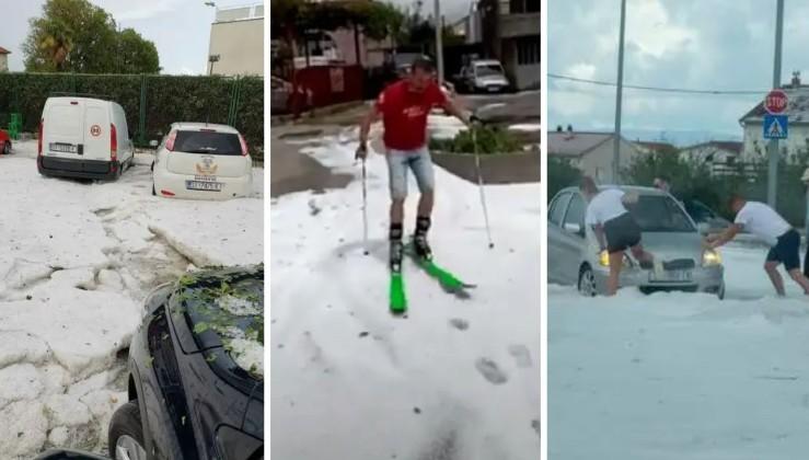 """""""Людям доводилося виштовхувати автомобілі із заметів"""" - У розпал літ У Хорватії випав сніг (відео)"""