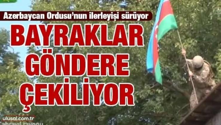Cebrail ilinin köylerinde Azerbaycan bayrakları dalgalanıyor
