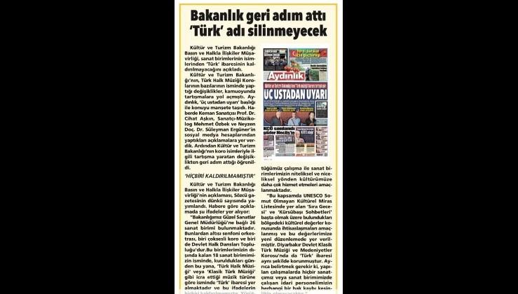 Kültür ve Turizm Bakanlığı yalanladı: Türk ibaresi kaldırılmadı, kaldırılmayacak.