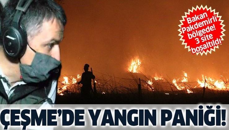 Son dakika: İzmir Çeşme'de yangın paniği!