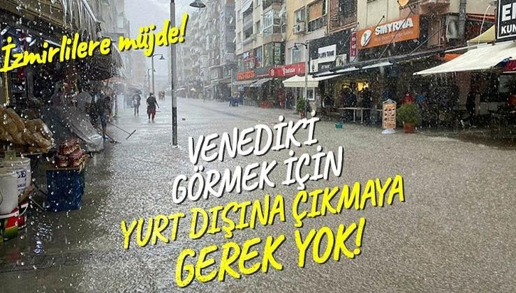 İzmir'de yine bilindik görüntü! Sağanak yağışın ardından sokaklar denize döndü!