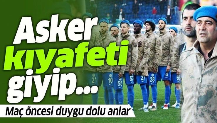 Rizespor-Alanyaspor maçı öncesi duygu dolu anlar! Ünal Karaman ve futbolcuları asker kıyafeti giyip...