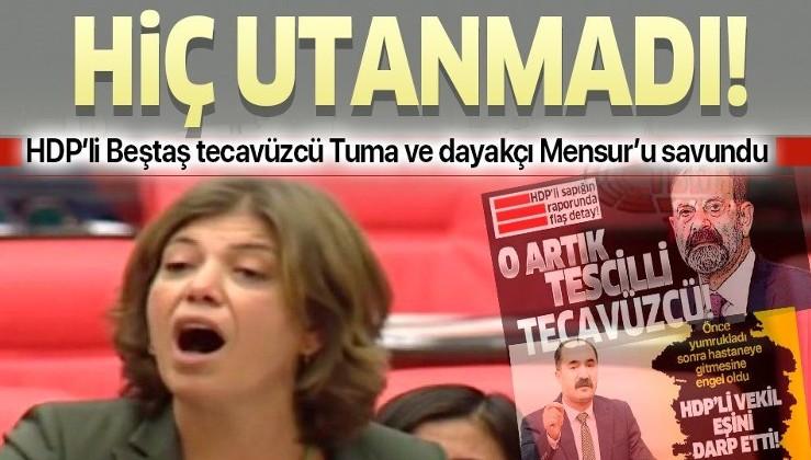 HDP'li Meral Danış Beştaş tecavüzcü Milletvekili Tuma Çelik ve dayakçı Mensur Işık'ı savundu!