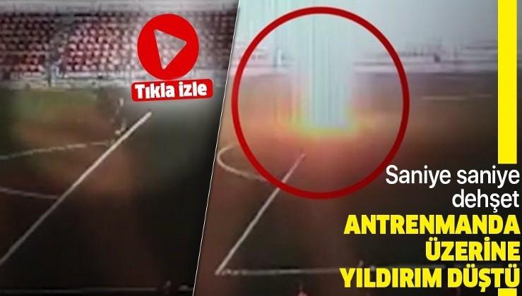 Rusya'da sahadaki futbolcuya yıldırım çarptı! O anlar saniye saniye kamerada