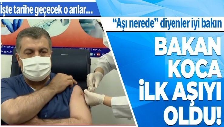 SON DAKİKA! Tarihi an: Sağlık Bakanı Fahrettin Koca canlı yayında koronavirüs aşısı yaptırdı!