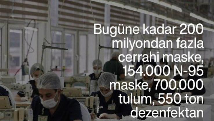 Mehmetçikten pandemiye karşı dev destek: 200 milyonun üzerinde maske ve 550 ton dezenfektan