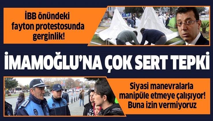 İBB önündeki fayton protestosunda gerginlik! Hayvanseverlerden İmamoğlu'na çok sert tepki