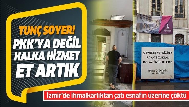 İzmir Büyükşehir Belediyesi'nin 1 aydır yenilemediği çatı çöktü, esnafı su bastı