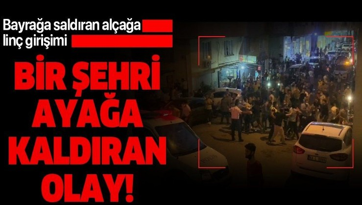 Şanlıurfa'da Türk bayrağını indirmeye çalışan şahsa linç girişimi