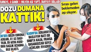 'Dozu' dumana kattık! Türkiye 4 günde 1 milyon koronavirüs aşısı yaptı, dünyayı solladı