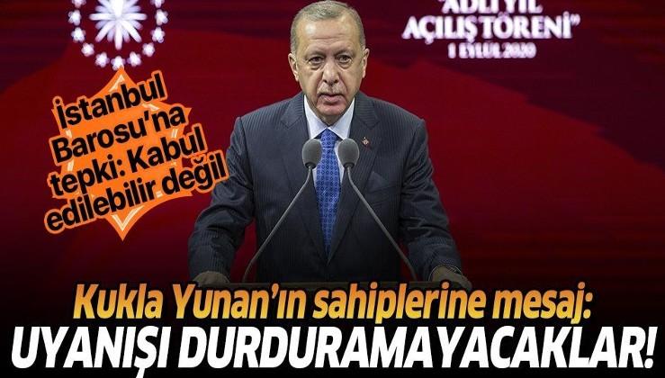 Erdoğan: İstanbul Barosu'na asılan pankartın şehitlerimizin kemiklerini sızlatmasının ötesinde anlamları var
