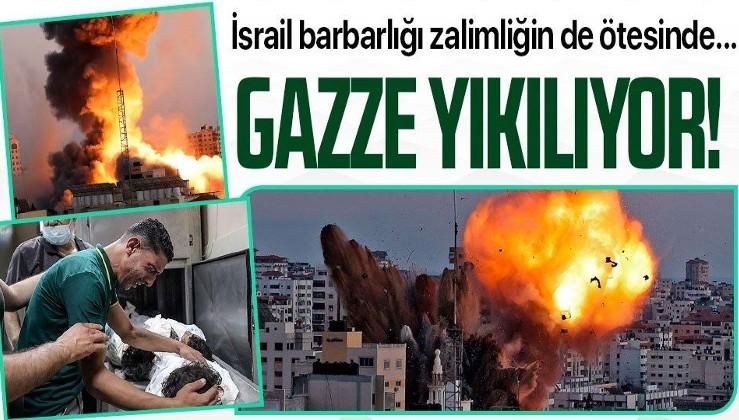 Siyonist İsrail'in Gazze Şeridi'nde saldırılarında onlarca bina yıkıldı!