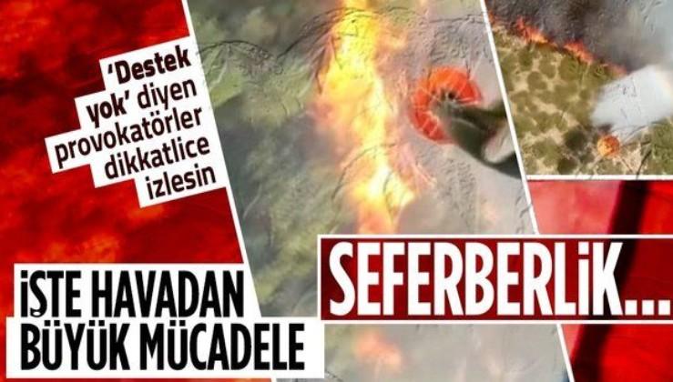 Yangın söndürme helikopterlerinden büyük mücadelenin görüntüleri