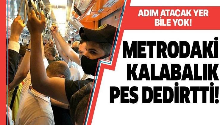 Metroda adım atacak yer kalmadı! İnsan trafiği yaşandı
