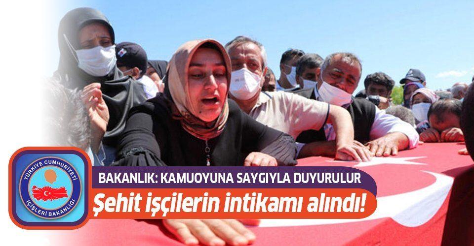 Son dakika: Şehit edilen işçilerin faili olan PKK'lı 3 terörist artık yaşamıyor